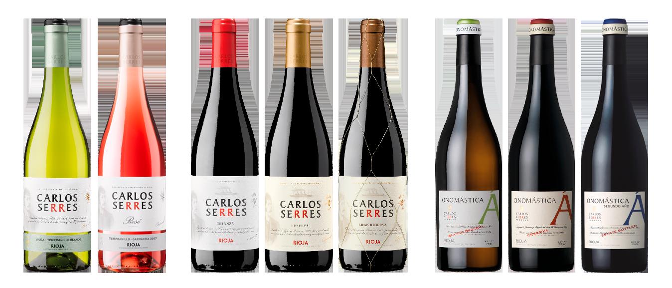 Série complète bouteilles Carlos Serres